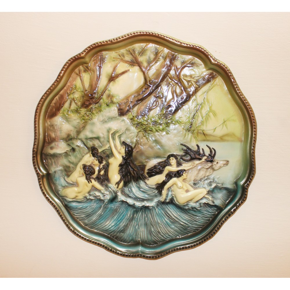 Brass Plate With Beautifully Hand Painted 3D Decoupage Art