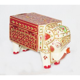 Handcrafted Wooden Elephant Jewellery Box